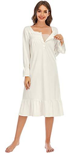 Nanxson Camisón Mujer Algodón Ropa de Dormir Manga Larga Pijama Suelto Camisones Loungewear (XL, Beige-31)