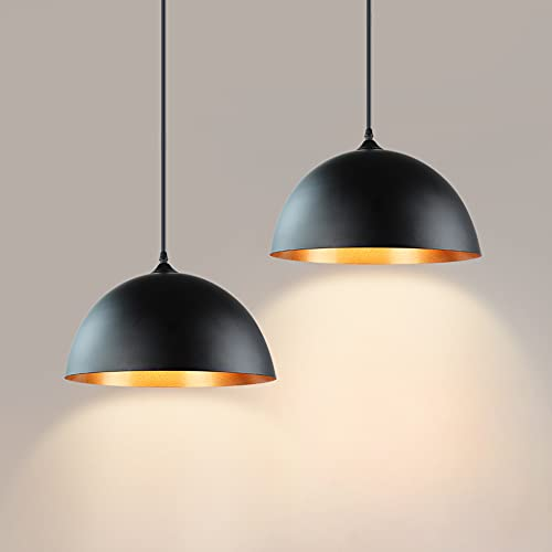 DLLT Industrial Pendant Light Fixture, Farmhouse Decor Adjustable Metal Hanging Lamp, Vintage Pendant Lighting for Kitchen Restaurant Dining Room Cafe Sink, E26 Base, Black(2 Packs)