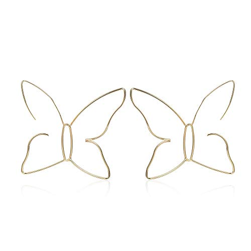 fxmimior Fashion Women Bohemian Gold Big Butterfly Earrings Tassels Long Chain Drop Dangle Earrings Jewelry for Women and Girls