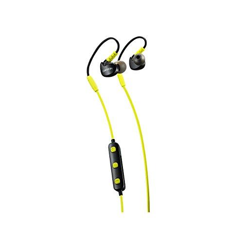 CANYON SBTHS1L draadloze bluetooth sport hoofdtelefoon, Gym fietsen lopende in-ear oordopjes met microfoon, 6 uur levensduur van de batterij, compatibel met Iphone iPad smartphone tablet PC laptop, geel