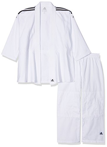 Adidas Anzug Judo Uniform Club- Kimono da Judo, Brillante Nero/Bianco, 160
