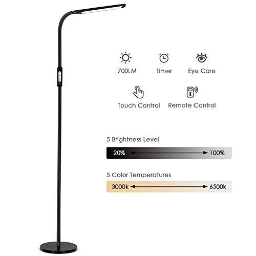 Albrillo Lámpara de Pie LED 8W - Luz de Lectura Moderna, con Control Táctil y Remoto, 5 Temperaturas de Color y 5 Brillos Ajustables, Temporizador y Modo Nocturno, para Salón y Dormitorio, Negro