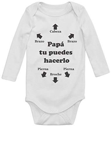 Body de Manga Larga para Bebé - Regalos Originales para Padres Primerizos - Papá Tu Puedes Hacerlo