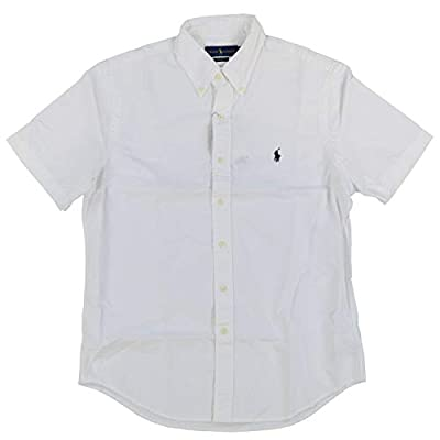 Ralph Lauren Mens Short Sleeve Oxford Shirt (L, White)