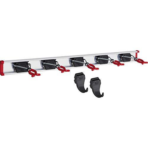 BRUNS Alu-Gerätehalter-Set, inkl. 5 Halter und 2 Haken, mit Schiene 750 mm, flexible Hakenleiste für Gartengeräte