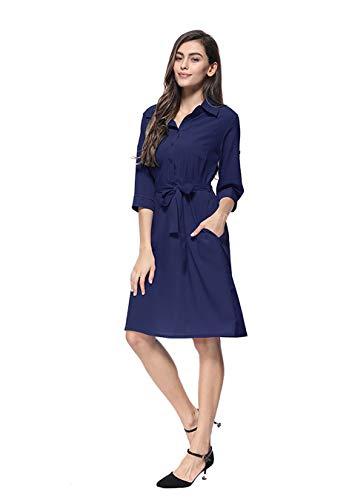 EFOFEI Damen Knielanges Kleid Einfarbiges Kleid Marineblau XL