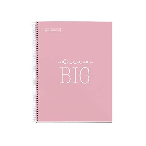 Miquelrius - Cuaderno Notebook Messages - 1 Franja de color, A4, 80 Hojas Cuadriculadas de 5mm, Papel 90 g, 4 Taladros, Cubierta de Cartón Extra Duro, Color Rosa