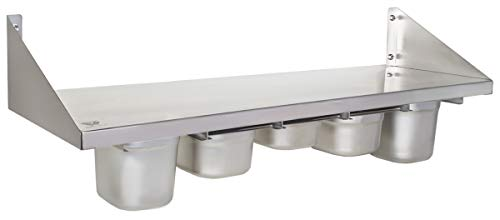 Beeketal 'BGR-100' Gastro Küchen Wandregal 100 cm aus Edelstahl mit 5 GN Behälter Schubeinsätzen, Regal Tragkraft ca. 35 kg, Küchenregal inkl. 5 x (GN) 1/6 Behälter und Wandmontagematerial