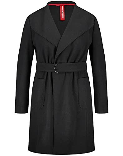 Samoon Damen Weich fallender Mantel mit Bindegürtel lässige Passform Kurzmantel, Übergangsjacke/-Mantel Große Größen