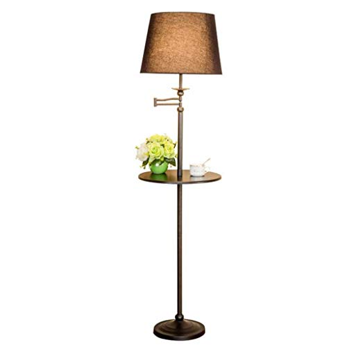 Lámpara de poste alto para oficina o dormitorio E27, lámpara de pie de pie con brazo extensible oscilante y estantería para mesa Pantalla de lámpara difusora de luz de suelo para sala de estar