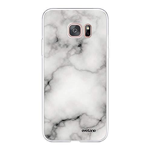 Evetane – Carcasa para Samsung Galaxy S7 Edge 360 Integral – Carcasa Delantera Trasera Resistente – Protección sólida – Funda Transparente mármol Blanco – Diseño Moderno