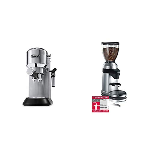 De\'Longhi Dedica Style EC 685.M Espresso Siebträgermaschine, Espressomaschine mit Professioneller Milchschaumdüse, nur 15 cm breit, 1 Liter Wassertank, silber & Graef Kaffeemühle CM 800