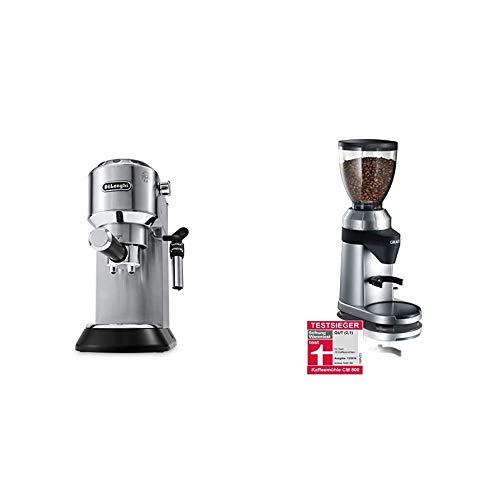 De'Longhi Dedica Style EC 685.M Espresso Siebträgermaschine, Espressomaschine mit Professioneller Milchschaumdüse, nur 15 cm breit, 1 Liter Wassertank, silber & Graef Kaffeemühle CM 800