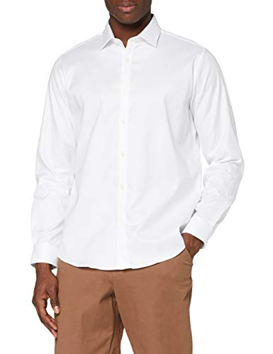 Marca Amazon - MERAKI Camisa de Vestir Regular Fit Estilo Óxford Hombre, Blanco (White), XS, Label: XS