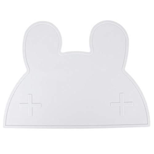 SALUTUYA Mantel Individual de Silicona Gris Conejo para niños, tapete para bebés, para Evitar Que los Alimentos se esparzan para niños y niños pequeños(Gray)