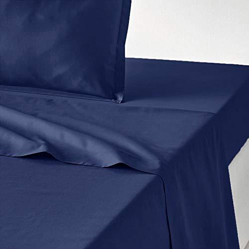 Mirabello Carrara Louisiana S80 - Juego de sábanas de percal de algodón para cama de matrimonio, color azul marino