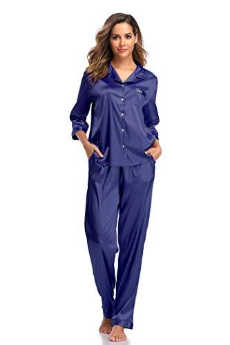 SHEKINI Damen Klassische Zweiteiliger Schlafanzug mit Hose mit Gummibund am Einfarbige Nachthemd Satin Nachtwäsche Knöpfen Pyjama Sleepwear