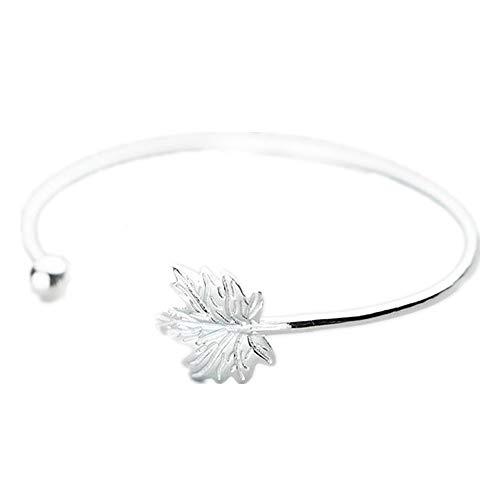 JunBo Fashion Leaf Silber Armband Persönlichkeit Licht Perle Ahorn Armreif Schmuck