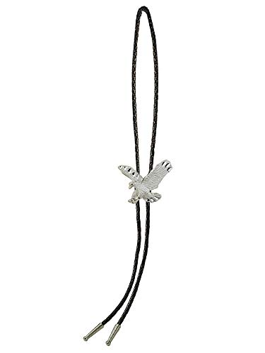 Sunrise Outlet Men's Western Bolo Tie Silver Tone Eagle with Black Leatherette - 18 inch hang