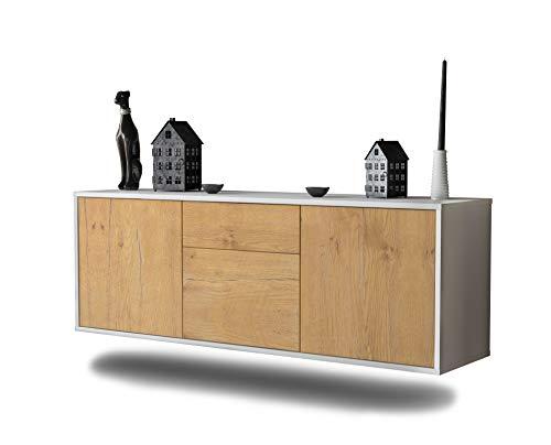 Lowboard Cleveland hängend (136x47x35cm) Korpus weiß matt   Front Holz-Design Eiche   Push-to-Open   hochwertige Leichtlaufschienen