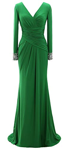 MACloth Women Long Mother of Bride Dresses Long Sleeve V Neck Evening Gown (US18w, Green) (Apparel)