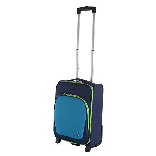 Let´s Go Reisekoffer für Kinder, Kleiner Trolley für Jungen und Mädchen mit verschiedenen Motive, Robustes Handgepäck mit 20 Liter Volumen (blau/grün)