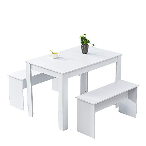 Huisen Furniture Wood Dining Table and 2 Benches White for Small Apartment 3 Piece Kitchen Dinette Table and Chairs Set with 4 Seat Space Saver
