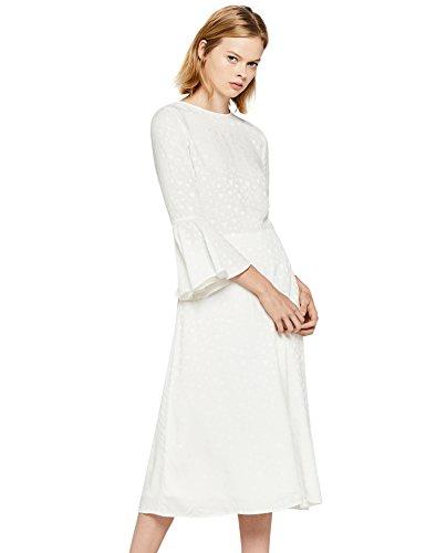 find. Damen Kleid mit Rüschen und 3/4-Arm, Weiß (Ivory), 40 (M)