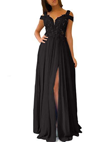 Zyhappk Sexy Slit Homecoming Dresses Long Off Shoulder Appliqued Evening Dress 2020 Empire Dress Black Size 16