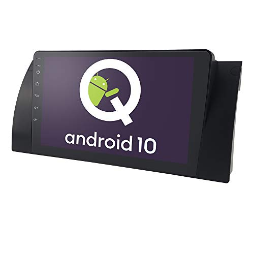 1 DIN Car GPS Navigation con Android 10 OS Pantalla táctil de 9 Pulgadas para BMW 5-E39 X5-E53 M5 7-E38, Bluetooth Car Radio + CANBUS Soporte iOS y Android Mirror-Link Steering Control de Volante