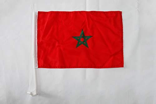 AZ FLAG AUTOFAHNE MAROKKO 45x30cm - MAROKKANISCHE AUTOFLAGGE 30 x 45 cm Auto flaggen