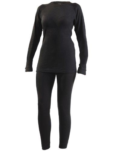 Ultrasport Set Biancheria Intima Termica per Donna con Funzione Quick Dry, Nero, M