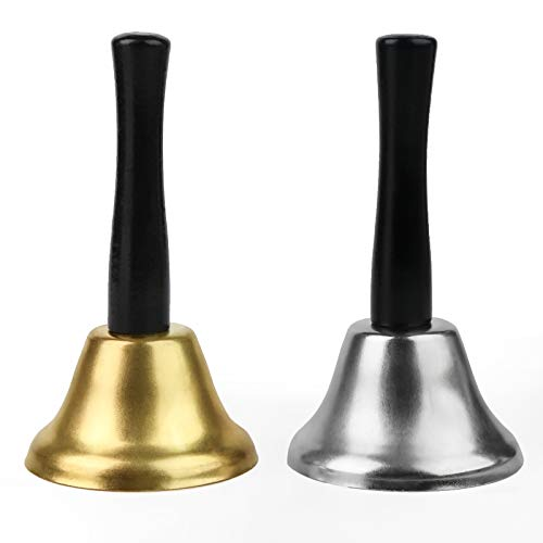 Koogel 2 STK. Silber Gold Tischglocke, Handglocke Eisen Lauter Klang Holzgriff für Schule Rezeption Hotelservice Weihnachtsdekoglocke 12 x 6.5cm