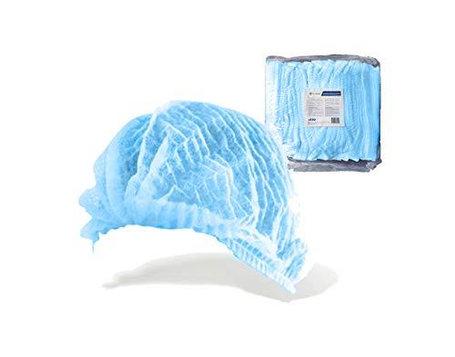 100 Gorros desechables Oneprotek - Protección del cabello - Resistente, elástico y antipolvo - Azul