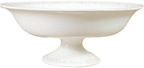 Biscottini Gâteau présentoir Shabby en Porcelaine Blanche L33xPR33xH14 cm