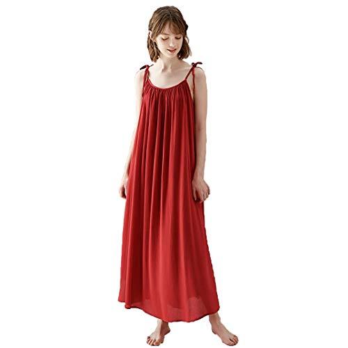 DyM Sexy camisón de tirantes para mujer vestido largo boda novia año natal rojo verano fino servicio a domicilio(Color:Dark red,Size:S)