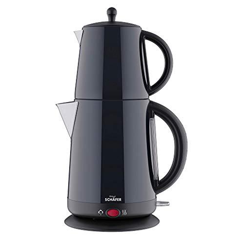 Schäfer Teekocher Edelstahl Teemaschine mit Sieb Teebereiter Wasserkocher Teekanne, Warmhaltefunktion, 2200 Watt, 1L-1,7L, Schwarz