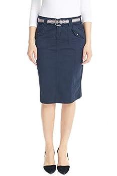 ESTEEZ Ladies Cargo Midi Straight Skirt Knee Length Cotton Stretch Poplin Virginia Navy 12