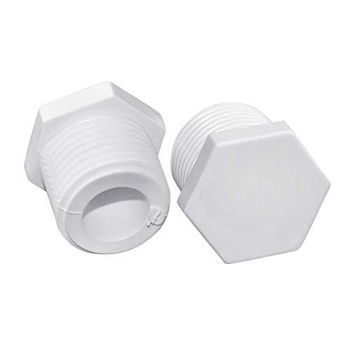 Daytwork Agua Suministro Tubería Tapón - 5Pcs Plástico PVC Hexagonal Cabeza Macho Rosca Tapón Manguera Accesorios Piezas Tope Extremo Tapa Cubierta 1/2 Pulgada -2 Pulgada