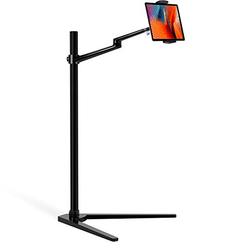 Viozon Tablet Floor Stand, Holder for iPad,Applicable to3.5~6.7inch Smart Phone and 7~13 inch Tablet Such as iPad, iPhone X, iPad Pro,iPad Mini, iPad Air 1-2 / iPad 2-4 (Black)