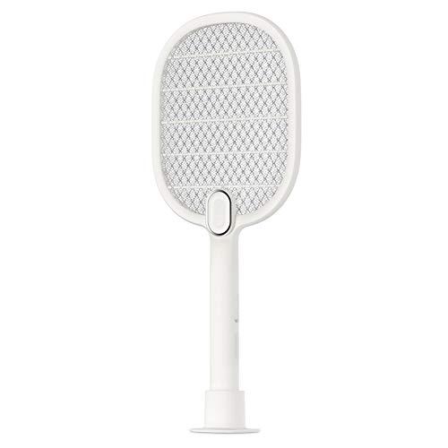 Elektrische Fliegenklatsche, USB wiederaufladbar, LED-Beleuchtung, Geeignet für Handheld, Ständer, Wandbehang