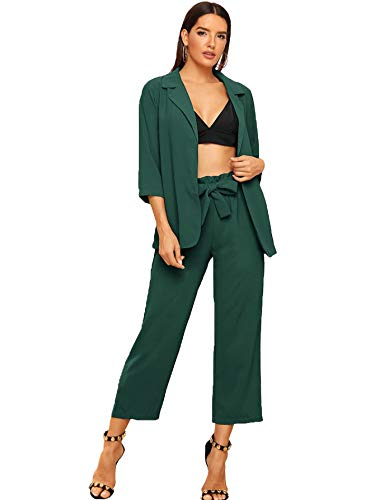 SheIn Women's 2 Piece Outfit Notched Neck 3/4 Sleeve Blazer and Wide Leg Belted Pants Set Large Green
