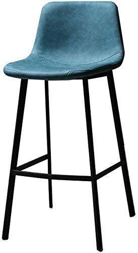 QTQZDD barkruk van metaal, barkruk van PU-leer met rugleuning en voetensteun, keukenwerkblad - groen 2 2