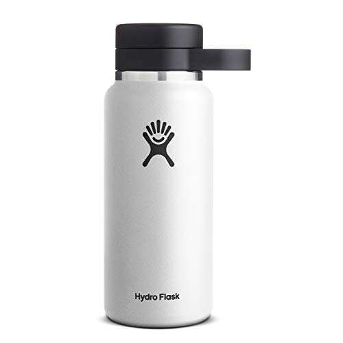 Hydro Flask Beer Growler - Stainless Steel & Vacuum Insulated - Easy-Carry Handle - 32 oz, White