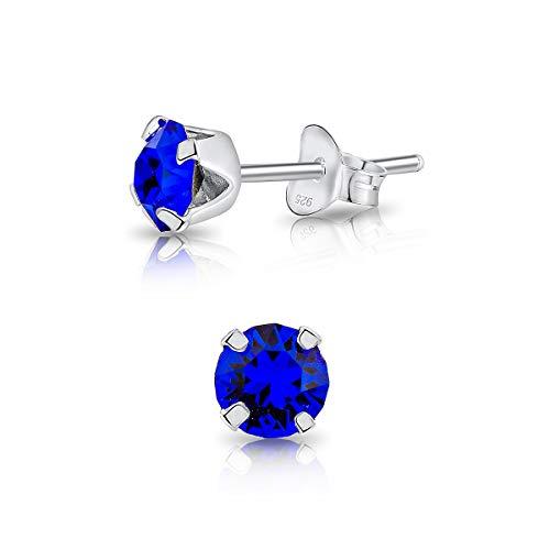 DTP Silver Semental Pendientes/Aretes de Plata de Ley 925 con Cristales Swarovski® Elements Pequeños Redondos - Diámetro: 5 mm - Color: Majestuoso Azul