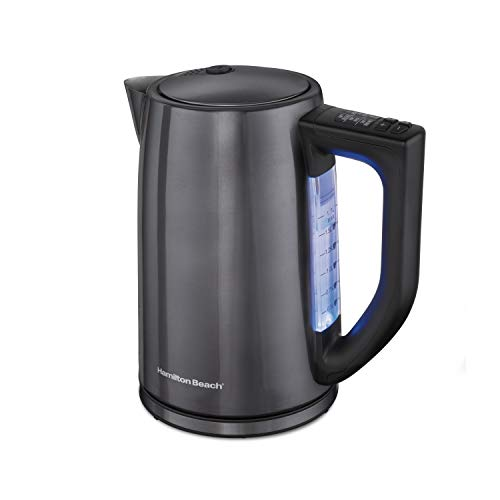 Hamilton Beach Temperature Control Electric Tea Kettle, Water Boiler & Heater, 1.7L, Cordless, LED Indicator, Auto-Shutoff, Keep Warm & Boil-Dry Protection, Black Stainless Steel (41027)