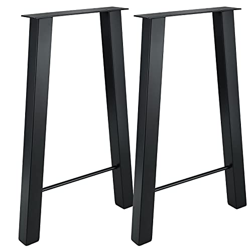 NATGAI Metal Furniture Table Bench Legs, 2PCS Heavy Duty Industry Rustic Square Tube Table Legs for Dining Furniture, Wood Coffee Bench Tables and Desk (H-Shape 28