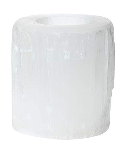 Artisan Owl Natural Solid White Selenite Candleholder - Perfect for Meditation and Reflection - 3' Tall (1)