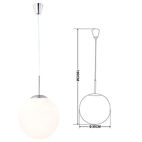 Hanglamp met glazen bol gesatineerd voor de slaapkamer (hanglamp, hanglamp, hoogte 180 cm x diameter 30 cm)