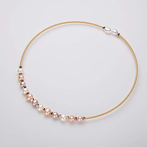 Guang Gargantillas rellenas de Oro de 14 K, Collar de Perlas Naturales de Agua Dulce, Elegante Collar de Perlas, gargantillas, joyería para Mujeres, Regalos